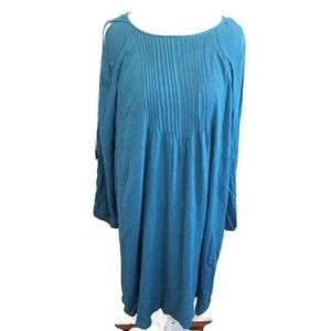 NWT Old Navy Teal Aline Flowy Dress Sleeve slits